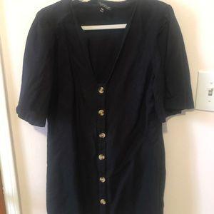 Topshop Black linen button front dress